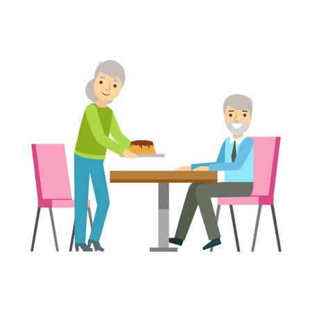 Pareja de edad que come la torta en la mesa, la persona que tiene un postre En la ilustración de dulce de los pasteles Cafe Vector sonriente. Feliz personaje de dibujos animados Primitivo En tienda de la panadería en el almuerzo.