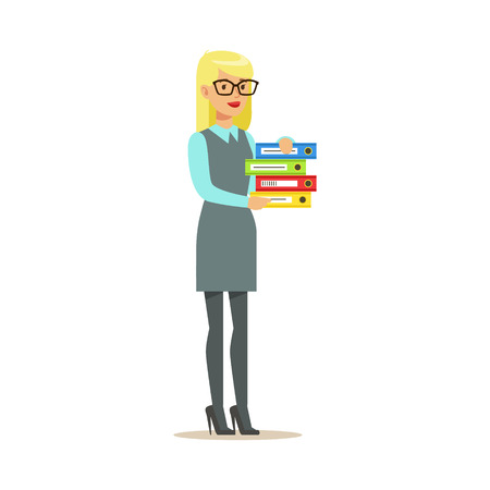 Blond Secretary Holding Pile Of Folders, Part Of Office Workers Series Of Cartoon Characters In Official Clothing. Happy Person Working In The Office Vector Illustration.