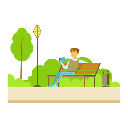 Man Reading A Book On The Bench, Part Of People In The Park Activities Series. Smiling Characters Outdoors Pastime Bright Illustration With Green Scenery On Background. Illustration