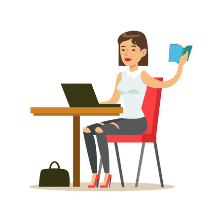 Woman Studying Copying From The Book To Lap Top, Smiling Person In The Library Vector Illustration. Simple Cartoon Drawing With Bookworm People Loving To Read And Study In The Library. Illustration
