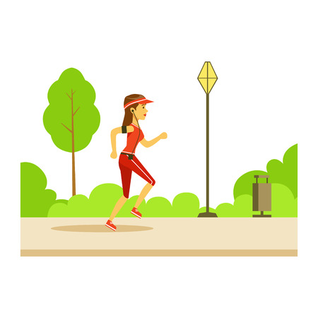 joggers: Woman Running In Sportive Clothes On The Street, Part Of People In The Park Activities Series. Smiling Characters Outdoors Pastime Bright Illustration With Green Scenery On Background.