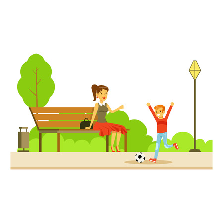 Mom Sitting On The Bench Wathing Her Son Playing Football, Part Of People In The Park Activities Series. Smiling Characters Outdoors Pastime Bright Illustration With Green Scenery On Background.
