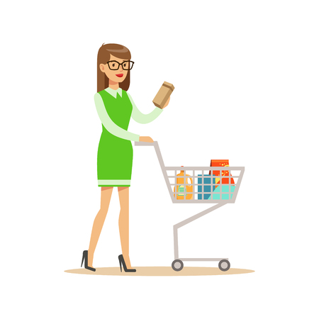 Woman In Green Dress With Cart Shopping In Department Store ,Cartoon Character Buying Things In The Shop. Colorful Vector Illustration With Happy People In Supermarket.