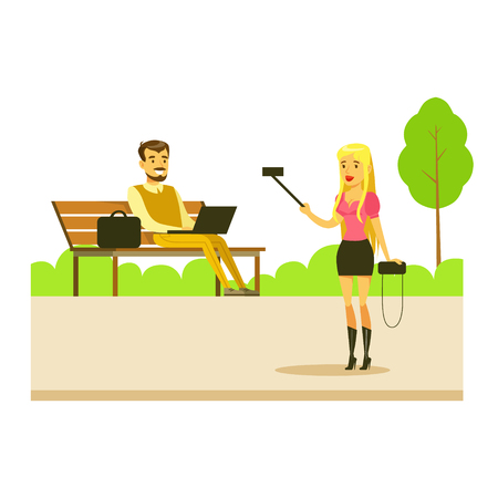 Girl Taking A Photo With Selfie Stick And Man Sitting On Bench With Lap Top, Part Of People In The Park Activities Series. Smiling Characters Outdoors Pastime Bright Illustration With Green Scenery On Background. Illustration