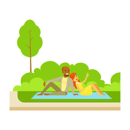 Couple Having Picnic On Grass, Part Of People In The Park Activities Series. Smiling Characters Outdoors Pastime Bright Illustration With Green Scenery On Background.