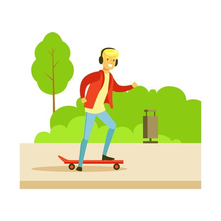 skateboard park: Guy In Headphones On Skateboard On The Street, Part Of People In The Park Activities Series. Smiling Characters Outdoors Pastime Bright Illustration With Green Scenery On Background. Illustration