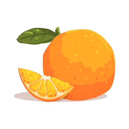 it is full: Fresh Full Garden Orange WIth Leaf And Orange SLice Next To It Cool Style Bright Illustration. Cartoon Detailed Radiant Color Hand Drawn Object Isolated On White Background.
