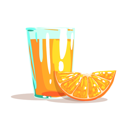 Glass Of Fresh Orange Juice And Slice Of Orange Next To It Cool Style Bright Illustration. Cartoon Detailed Radiant Color Hand Drawn Object Isolated On White Background.