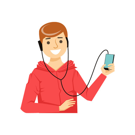Guy In Hoodie WIth Hands-Free Headphones Plugged To Smartphone, Part Of People Speaking On The Mobile Phone Series