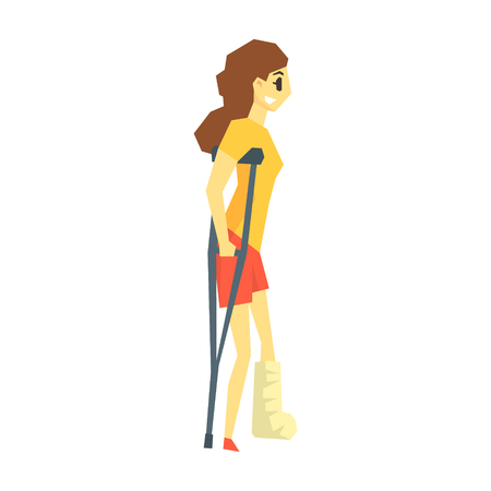 Girl With Cast On Leg Walking With Croushes, Young Person With Disability Overcoming The Injury Living Full Live Vector Illustration Illustration