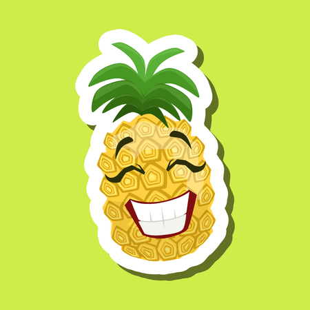 Pineapple Laughing, Cute Emoji Sticker On Green Background Illustration