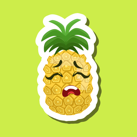 Pineapple Upset, Cute Emoji Sticker On Green Background Illustration