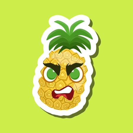 Ananas, Boze Leuke Emoji-sticker op Groene Achtergrond Vector Illustratie