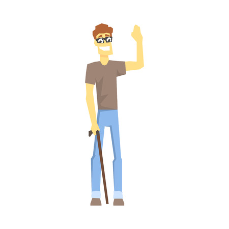 permanent: Blind Guy With Walking Stick, Young Person With Disability Overcoming The Injury Living Full Live Vector Illustration