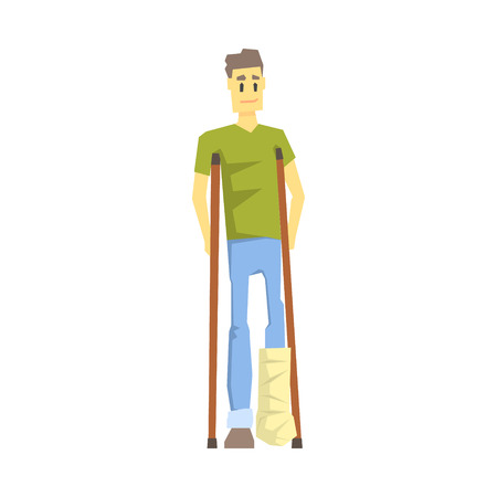 Guy With Cast On Leg With Crouches, Young Person With Disability Overcoming The Injury Living Full Live Vector Illustration