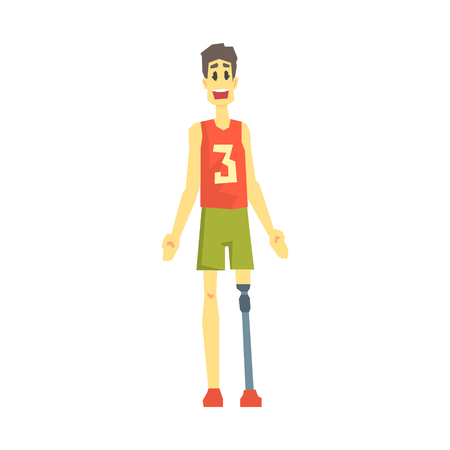 Guy In Sportive Outfit With Artificial Leg, Young Person With Disability Overcoming The Injury Living Full Live Vector Illustration