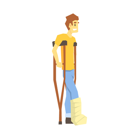 Man Walking On Crouches, Young Person With Disability Overcoming The Injury Living Full Live Vector Illustration Illustration