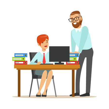 Woman Sitting At Her Desk Talking With Male Colleague, Part Of Office Workers Series Of Cartoon Characters In Official Clothing. Happy Person Working In The Office Vector Illustration.