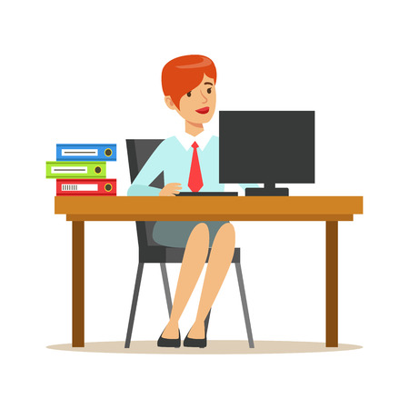 Woman Working At Her Desk With Computer And Folders, Part Of Office Workers Series Of Cartoon Characters In Official Clothing. Happy Person Working In The Office Vector Illustration. Illustration