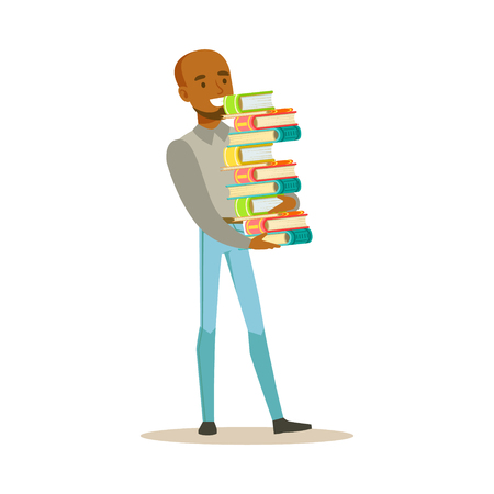 bookworm: Man Carrying Tall Pile Of Books, Smiling Person In The Library Vector Illustration. Simple Cartoon Drawing With Bookworm People Loving To Read And Study In The Library.