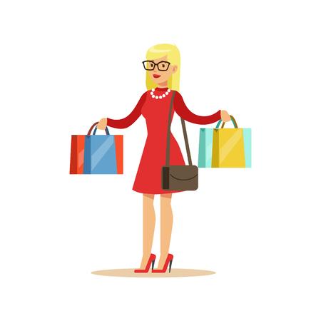 Mujer con muchas bolsas de papel comercial en los grandes almacenes, personaje de dibujos animados de comprar cosas en la tienda. Colorida ilustración vectorial Con la gente feliz en supermercado.