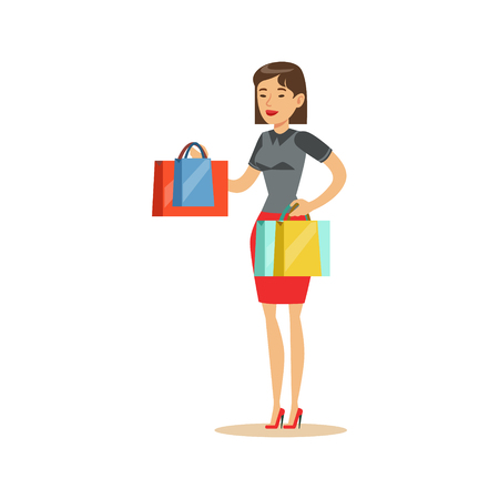 mujer en el supermercado: Woman With Clothing Outlet Bags Shopping In Department Store ,Cartoon Character Buying Things In The Shop. Colorful Vector Illustration With Happy People In Supermarket.