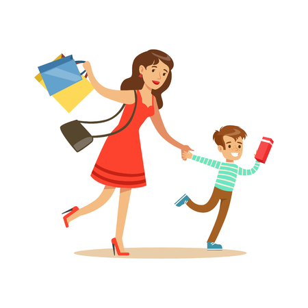 Mother And Son Running Shopping In Department Store ,Cartoon Character Buying Things In The Shop. Colorful Vector Illustration With Happy People In Supermarket. Vectores