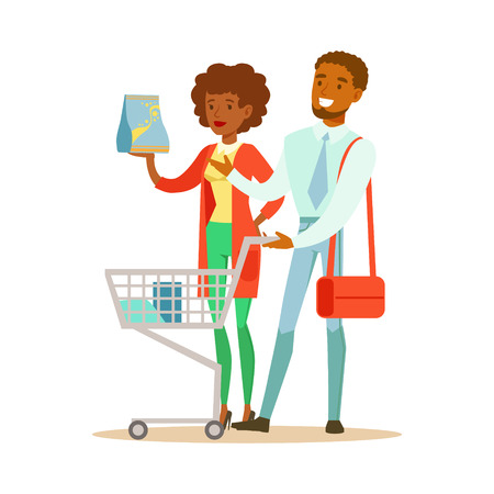 mujer en el supermercado: Couple With Household Chemisry Cart Shopping In Department Store ,Cartoon Character Buying Things In The Shop. Colorful Vector Illustration With Happy People In Supermarket.
