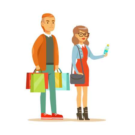 mujer en el supermercado: Couple With Multiple Clothing Outlet Bags Shopping In Department Store ,Cartoon Character Buying Things In The Shop. Colorful Vector Illustration With Happy People In Supermarket.