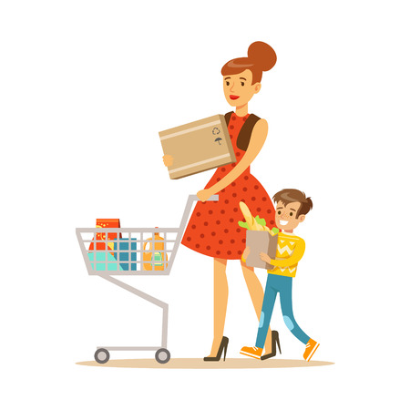 Mother And Son With Cart Shopping In Department Store ,Cartoon Character Buying Things In The Shop. Colorful Vector Illustration With Happy People In Supermarket. Vectores