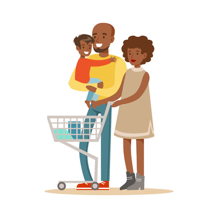 Black Family With Cart Shopping In Department Store ,Cartoon Character Buying Things In The Shop