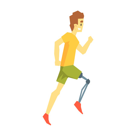 Guy Running With Artificial Leg, Young Person With Disability Overcoming The Injury Living Full Live Vector Illustration