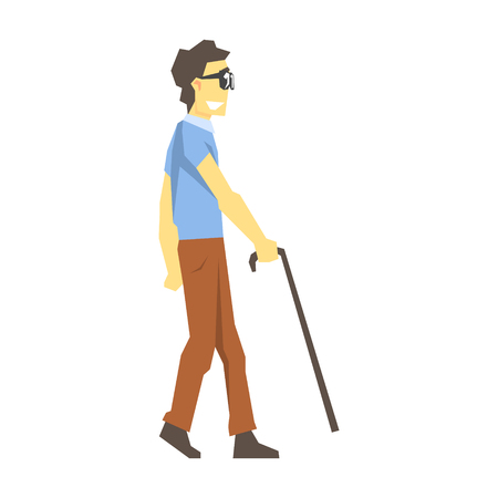 impaired: Blind Man Walking With Walking Stick, Young Person With Disability Overcoming The Injury Living Full Live Vector Illustration
