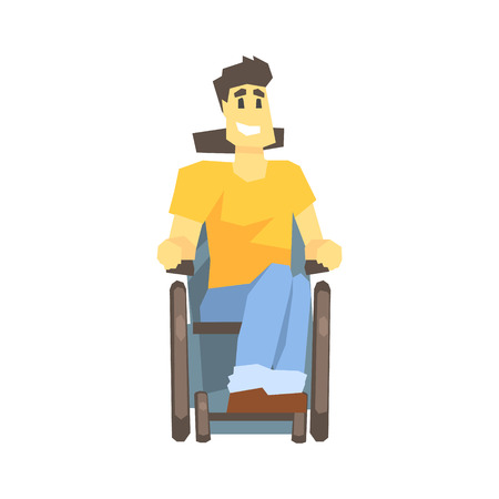 permanent: Guy In Wheelchair, Young Person With Disability Overcoming The Injury Living Full Live Vector Illustration