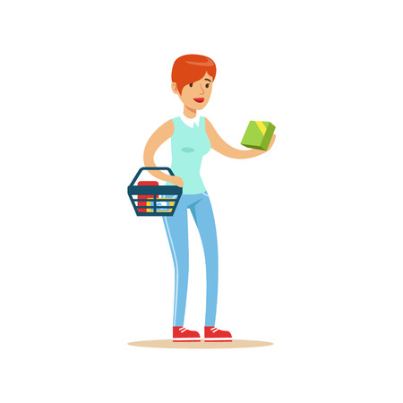 mujer en el supermercado: Woman With Basket Shopping In Department Store ,Cartoon Character Buying Things In The Shop. Colorful Vector Illustration With Happy People In Supermarket.