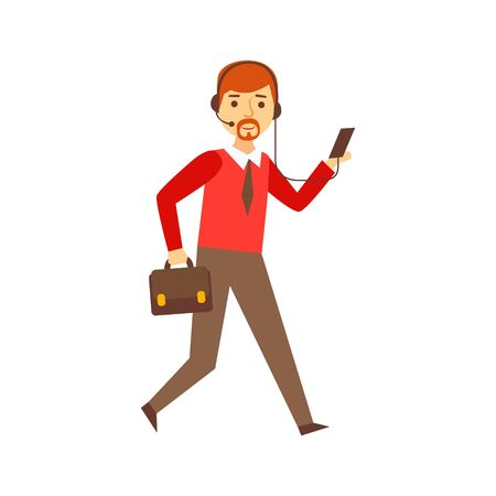 Businessman Running To Work With Suitcase And Headset For Smartphone, Person Being Online All The Time Obsessed With Gadget