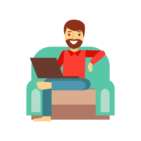 MAn At Home In Armchair With Lap Top, Person Being Online All The Time Obsessed With Gadget Illustration