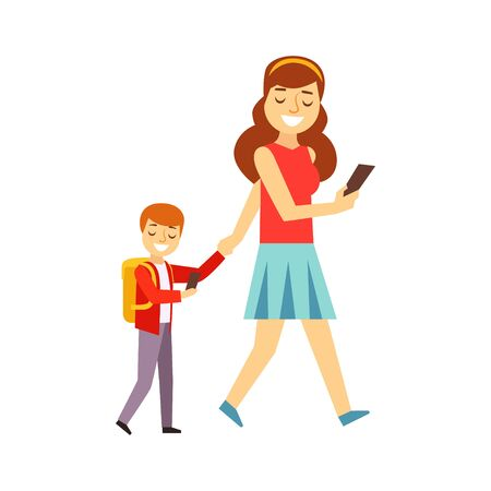 junkie: Mother Walking Son To School Both Looking At Smartphone Screen, Person Being Online All The Time Obsessed With Gadget Illustration