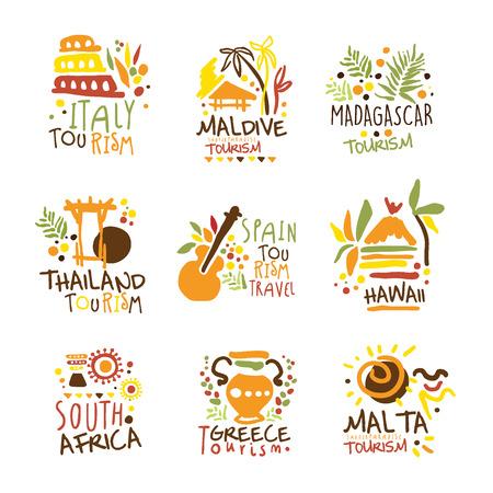 カラフルなプロモーション看板デザイン テンプレート別観光国と彼らの有名なオブジェクトの観光旅行セット