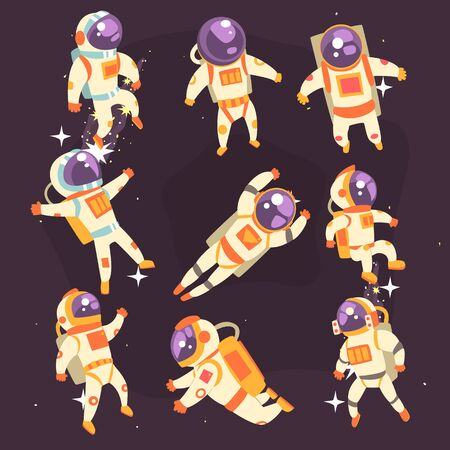 Astronaut In Space Suit Floating In Open Space In Different Positions Set Of Illustrations, Illustration