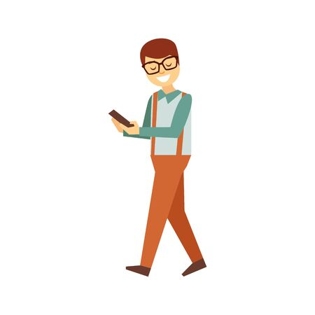 Man In Glasses Walking Looking At Smartphone Screen, Person Being Online All The Time Obsessed With Gadget Illustration