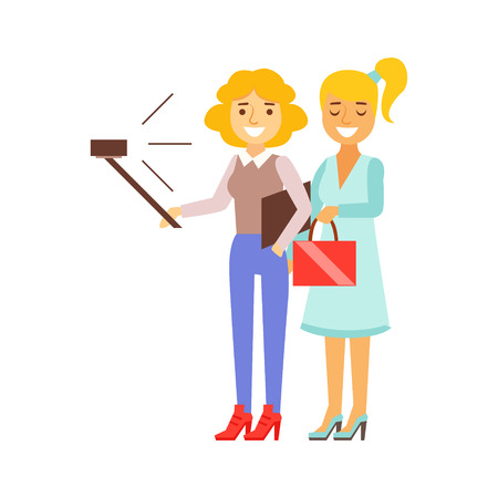 Girlfriends Standing Taking Selfie With Selfie Stick And Smartphone, Person Being Online All The Time Obsessed With Gadget
