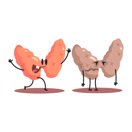Thyroid Human Internal Organ Healthy Vs Unhealthy, Medical Anatomic Funny Cartoon Character Pair In Comparison Happy Against Sick And Damaged
