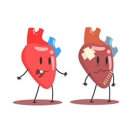 Heart Human Internal Organ Healthy Vs Unhealthy, Medical Anatomic Funny Cartoon Character Pair In Comparison Happy Against Sick And Damaged Illustration