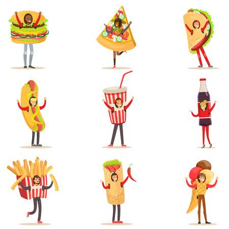 disguised: People Wearing Fast Food Snacks Costumes Disguised As Cafe Menu Items Set Of Cartoon Characters
