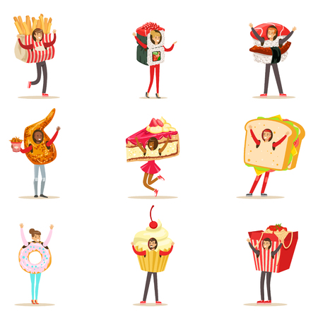 People Wearing Fast Food Snacks Costumes Disguised As Cafe Menu Items Collection Of Cartoon Characters Illustration