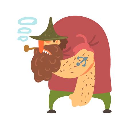 Pirata desaliñado jorobado con el tatuaje de la pipa y del ancla, personaje de dibujos animados de la Cort-Garganta de Filibuster Foto de archivo - 70991518