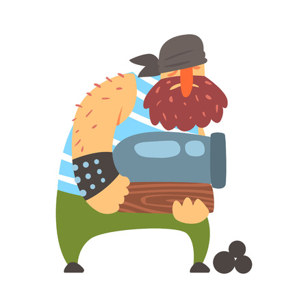 Scruffy Pirate Strongman Holding A Cannon, Filibuster Cut-Throat Cartoon Character Illustration
