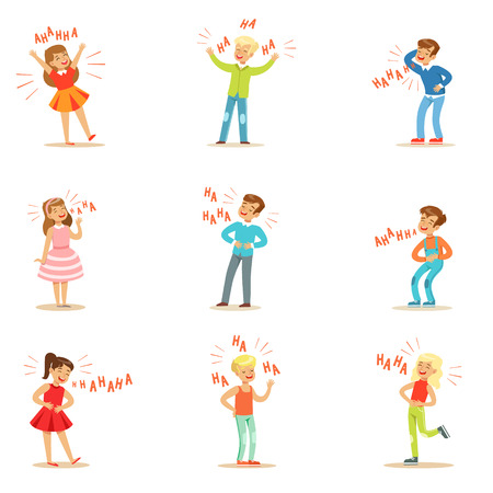 laugh out loud: Kids Hysterically Laughing Out Loud Set Of Cartoon Characters With Laughter And Giggle Spelled In Text Illustration