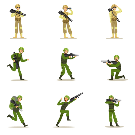 infantryman: Infantry Soldiers In Full Military Khaki Uniform With Guns During War Operation Set Of Cartoon Land Forces Cartoon Characters